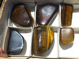 Polished Medium to Large Golden Tigers Eye Pieces x 6 from Prieska, South Africa