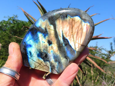 Polished Labradorite Crystal Standing Free Forms x 3 From Tulear, Madagascar