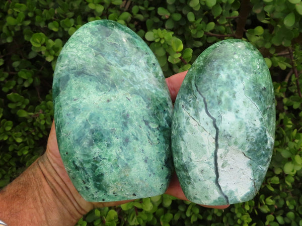 Polished Large Rare Chrysoprase Standing Free Forms x 3 from Madagascar