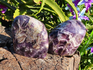 Polished Chevron Amethyst Quartz Crystal Standing Free Forms x 2 from Zambia