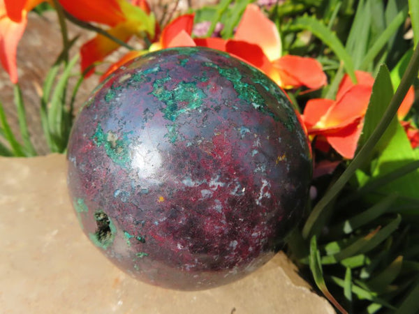 Polished Cuprite & Malachite Metal Mineral Sphere x 1 from Tantara, Congo
