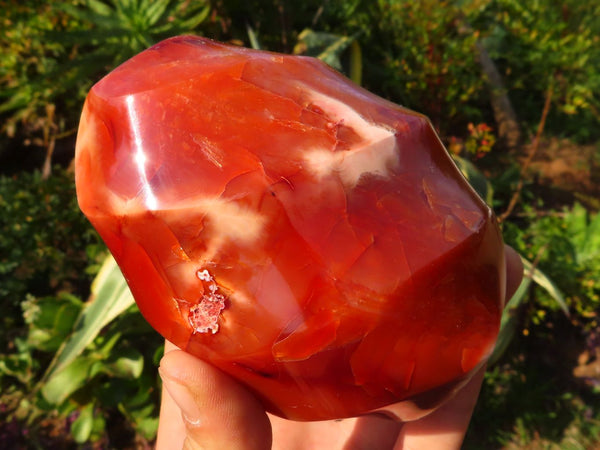 Polished Bright Exceptional Carnelian Flame Carvings x 4 from Madagascar