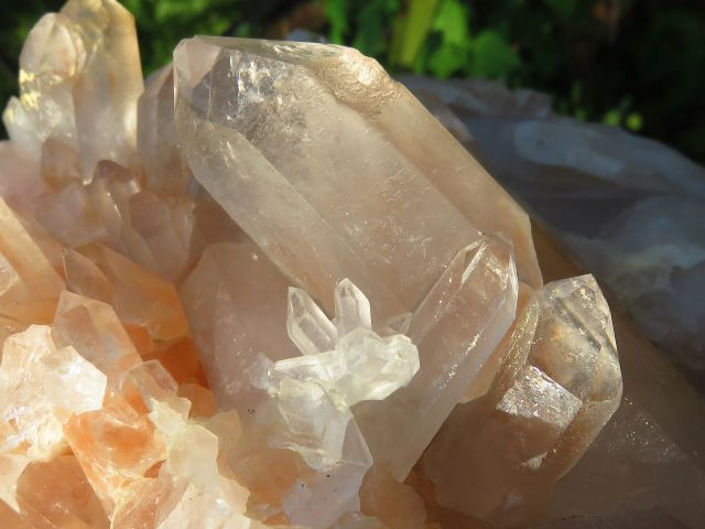 Natural XL Smokey Quartz Cluster with Orange hue x 1  from Madagascar