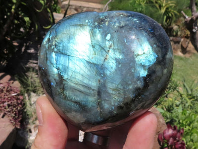 Polished Labradorite Hearts x 6 from Madagascar
