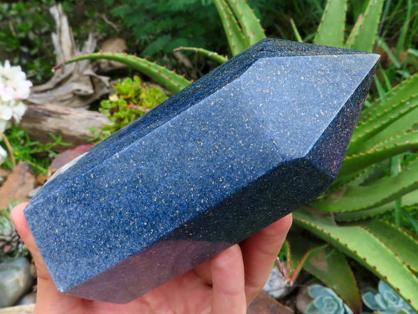 Polished Large Lazulite Crystal Points x 2 from Madagascar