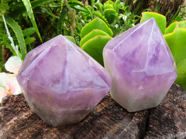 Natural Medium Amethyst Quartz Crystal Points x 2 from Zambia