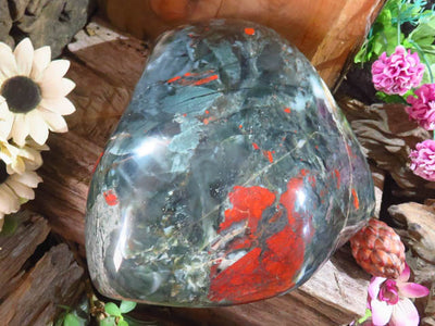 Polished Exceptional Blood Stone SDFF with pyrite x 1  From Swaziland
