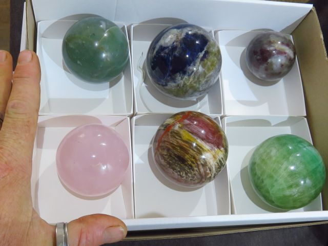 Polished Mixed Spheres x 6 from Southern Africa