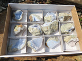 Natural Blue Lace Agate Specimens x 12 from Madagascar