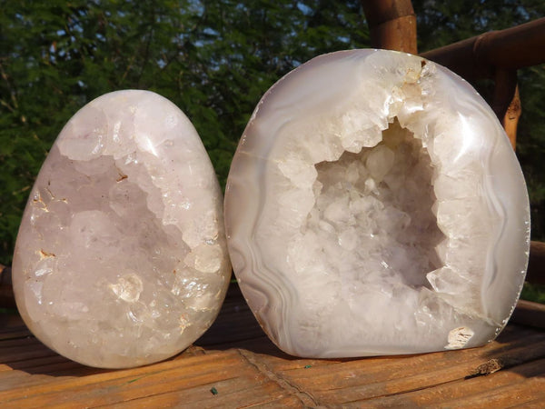 Polished Standing Crystalline Agate Geode Display Pieces x 2 from Mainterano, Madagascar