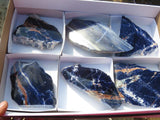 One Side Polished Sodalite Pieces x 6 from Namibia