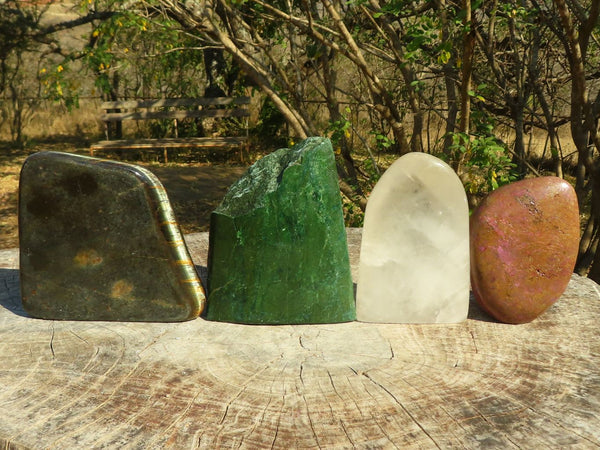 Polished Mixed Large Pieces (Serpentine, Emerald Verdite, Rock Crystal, Hawks Eye) x 4 from Southern Africa