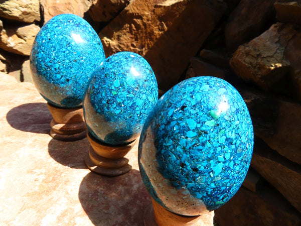 Polished Large Chrysocolla Conglomerate Crystal Eggs x 3 From Congo