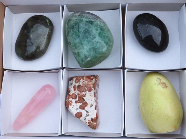 Polished Mixed Items (Garnet, Labradorite, Tourmaline, Rose Quartz & more) x 6  from Southern Africa