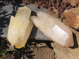 Natural Large Double Terminated Quartz Crystals x 2 from Ambatondrazaka, Madagascar