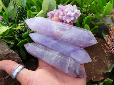Polished Double Terminated Amethyst Quartz Crystals x 6 from Zambia