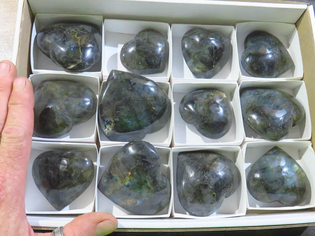 Polished Labradorite Hearts x 12 from Madagascar - TopRock
