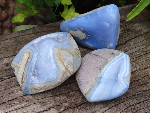 Polished Medium Blue Lace Agate Free Forms x 3 from Malawi