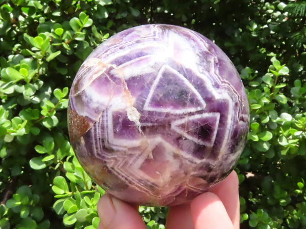 Polished Large Chevron Amethyst Quartz Crystal Ball x 1 from Zambia