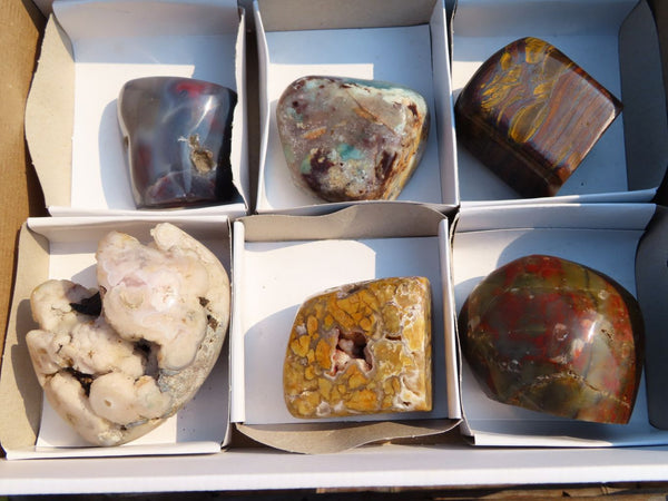 Polished  Mixed Free Forms x 6 From Zimbabwe