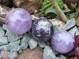 Polished Chevron & Mumba Amethyst Balls x 6 from Kolomo, Zambia