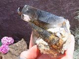 Natural Smokey Quartz & Aegerine specimen x 2 from Zomba, Malawi - TopRock