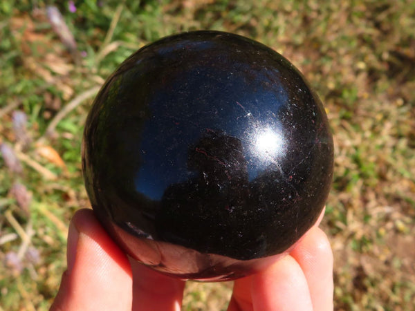 Polished Verdelite Green & Black Tourmaline Spheres x 2  from Madagascar