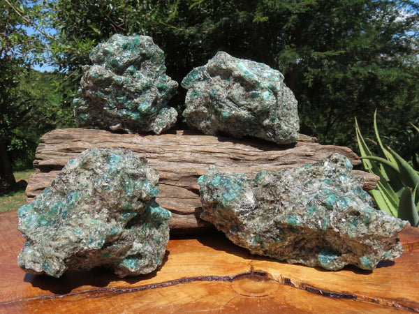 Natural Emeralds In Matrix x 4 From Zimbabwe