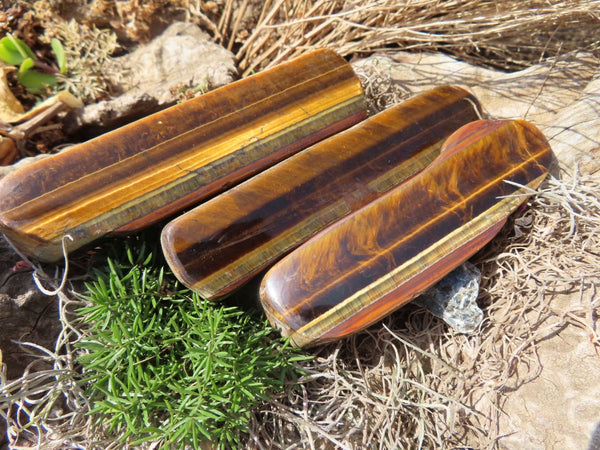 Polished Golden Tigers Eye Finger Slices x 19 from Prieska, South Africa