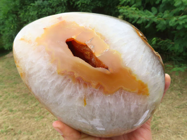 Polished Large Crystalline Lemur Island Carnelian Egg x 1  from Nosy Varika, Madagascar