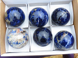 Polished Sodalite Spheres x 6 from Namibia