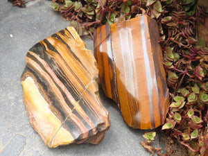 Polished Double Terminated Tigers Eye Crystals & Mugglestone x 6 from Northern Cape, South Africa