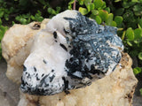 Natural Indicolite Blue Black Tourmaline Crystals x 2 from Karibib, Namibia