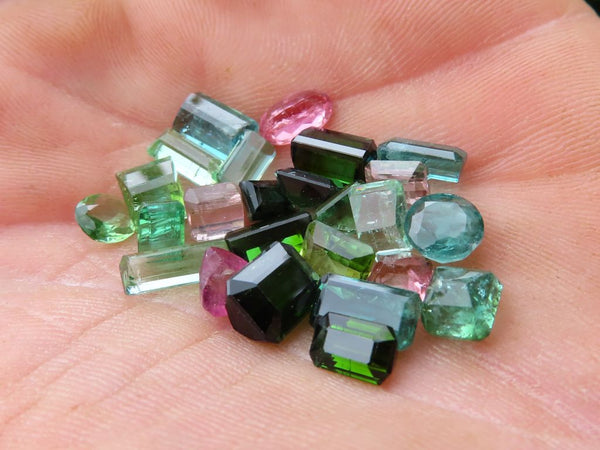 Polished Faceted Tourmaline Pink, Green, Blue Mixed Colours x 1 Lot from Pakistan