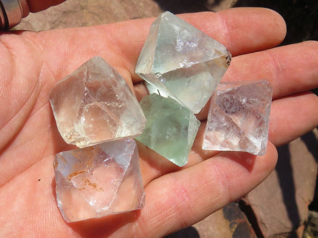 Natural Fluorite Octahedrons x 35 from South Africa