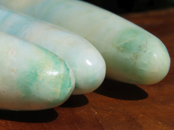 Polished  Blue Smithsonite Aragonite Massage Wands x 3 From Congo