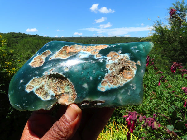 Polished  Large Polished One Side Emerald Chrysoprase Mtorolite Slices x 4 From Mutorashanga, Zimbabwe