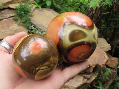 Polished Small & Large Polychrome Jasper Balls x 2 from Madagascar