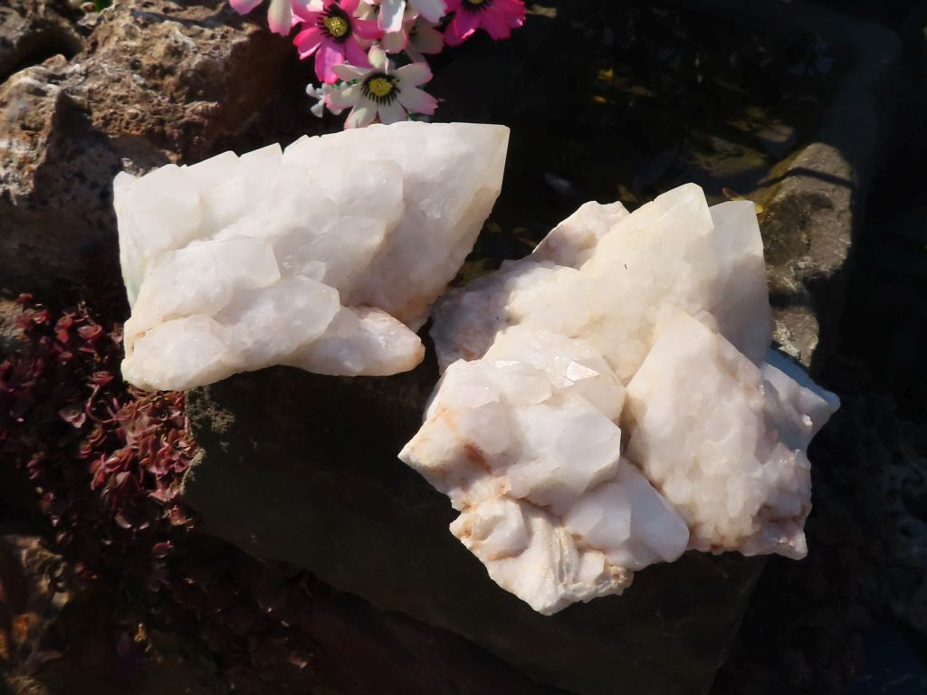 Natural Fuchsite Love Star Quartz Crystal Clusters x 2 from Ivato, Madagascar