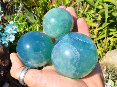 Polished Emerald Fluorite Crystal Balls x 6 from Madagascar