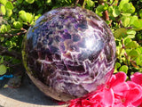 Polished XL Exceptional Chevron Amethyst Quartz Ball  x1