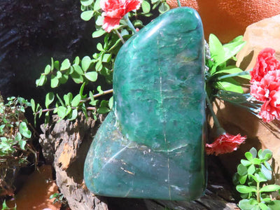 Polished Royal Green Jade Standing Freeform x 1  from Swaziland
