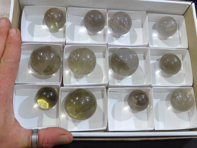 Polished Smokey Quartz Balls x 12 from Madagascar