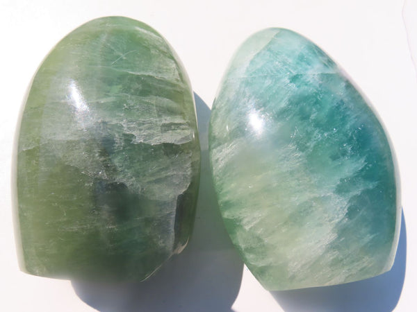 Polished Emerald Green Fluorite Standing Display Pieces x 2 from Madagascar