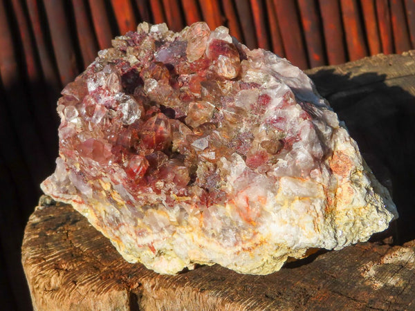 Natural Medium Red Hematite Asylum Quartz With Rutile Needles x 1 from Lwena, Congo