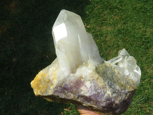Natural XXL Quartz Cluster with Pale Rose Quartz Matrix x 1 from Madagascar