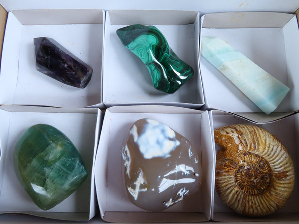 Polished /Natural Medium Labelled Mixed Crystals Fluorite, Blue Smithsonite Aragonite, Ammonite, Amethyst, Malachite & Agate x 6 From Southern Africa