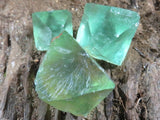 Natural Bipyramidal Octahedron Green Fluorite Single Crystals x 35 from Riemvasmaak, South Africa