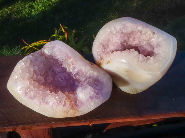 Polished Medium to Large Agate Geodes x 2 from Mainterano, Madagascar