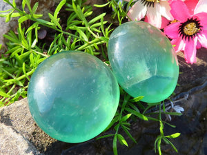 Polished Emerald Fluorite Crystal Gallets x 12 from Madagascar